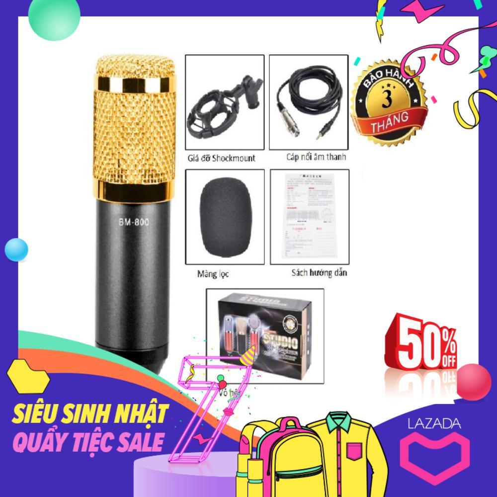Mic hát karaoke, Mic không dây, Micro Thu Âm VINETTEAM BM800 kèm Giá đỡ Sockmount , Cáp âm thanh, bông lọc mic (màu ngẫu nhiên)