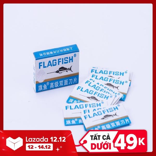1 Hộp 10 lưỡi lam FLAG FISH chuyên dùng cho dao cạo râu bằng tay truyền thống giá rẻ