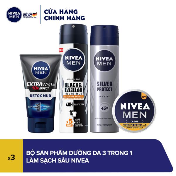 Bộ sản phẩm dành cho nam giúp sáng da, mờ thâm mụn Nivea cao cấp