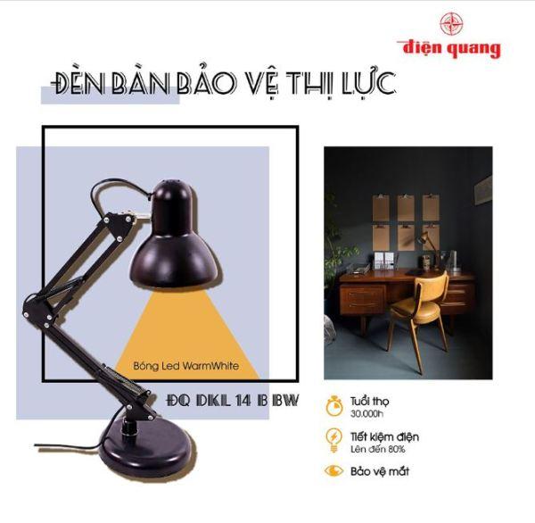Đèn bàn bảo vệ thị lực Điện Quang ĐQ DKL14 (Ánh sáng trắng - Daylight hoặc Ánh sáng vàng - Warmwhite)