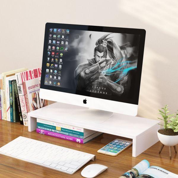 Kệ gỗ để màn hình máy tính, laptop nâng cao màn hình chống gù lưng, chống đau vai, kệ máy tính để bàn có hộc để tài liệu