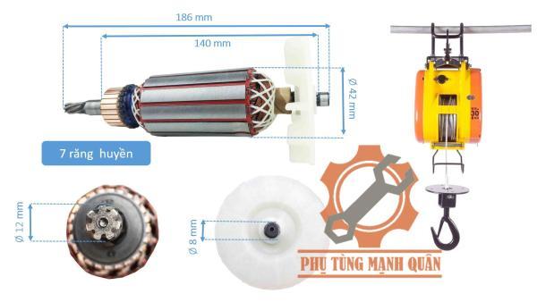 Rotor máy tời than 7 răng tặng kèm đôi than cao cấp