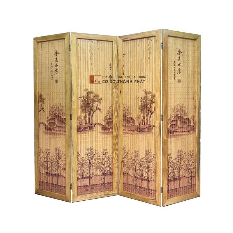 Bình phong tre mẫu ngôi nhà bên cầu khung gỗ thông, sơn bóng 4 cánh 1m75 x 0.5m Đại Trung