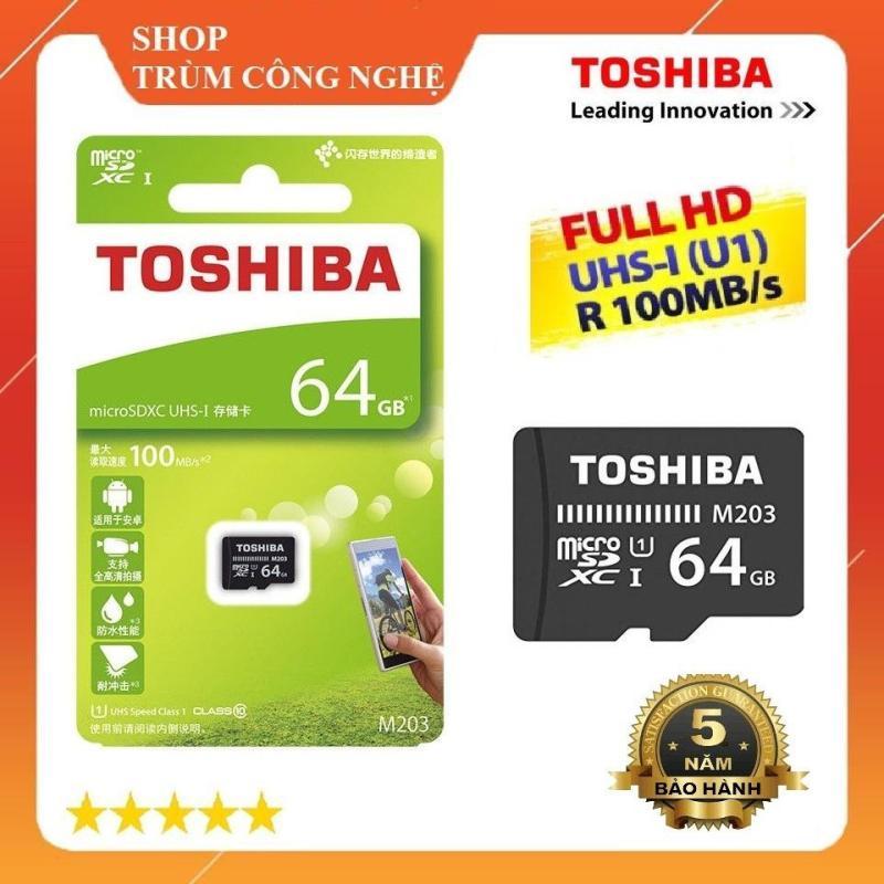 Thẻ nhớ MicroSD Toshiba M203 64GB Class10 100MB/s - Dành cho camera và điện thoại (Đen)