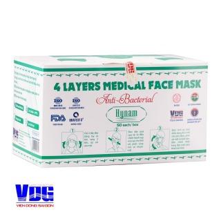 Khẩu trang y tế 4 lớp Hynam - Giấy lọc kháng khuẩn - Hiệu suất lọc BFE 97% Hộp 50 cái thumbnail