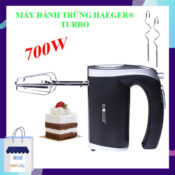 Máy đánh trứng cầm tay HAEGER Turbo 700W, 5 tốc độ, máy đánh trứng, trộn bột, làm kem bảo hành 12 tháng