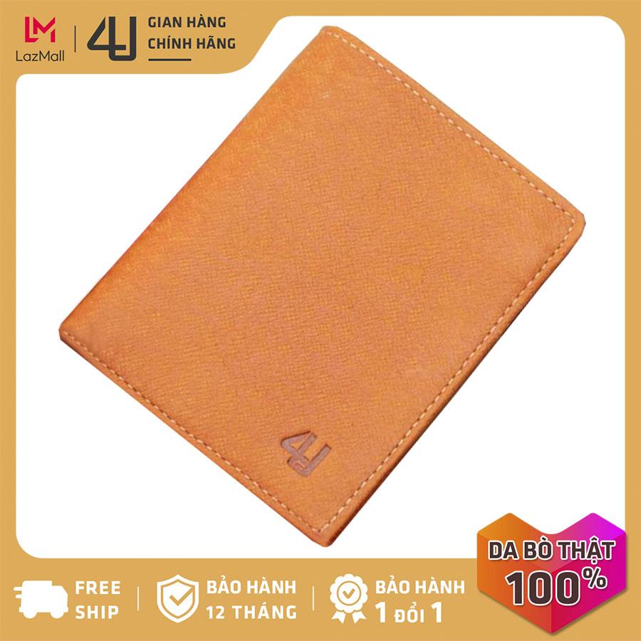 Bóp ví nam da bò thật 4U cao cấp dáng đứng, nhiều ngăn đựng tiền và thẻ tiện dụng FB163B (Nâu bò)