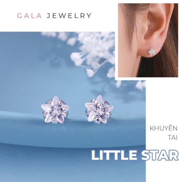 Bông tai bạc Gala Little Star KT10, khuyên tai nữ họa tiết ngôi sao đơn giản đính đá zircon
