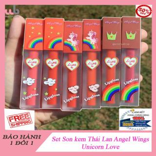 Set son kem Thái Lan Angel Wings Unicorn Love .[ HÀNG CHÍNH HÃNG ]. 6 CÂY 6 MÀU cực xinh và y hình luôn . Được tặng kèm thêm 1 túi đựng MỸ PHẨM chống nước 80k. Son kem thumbnail