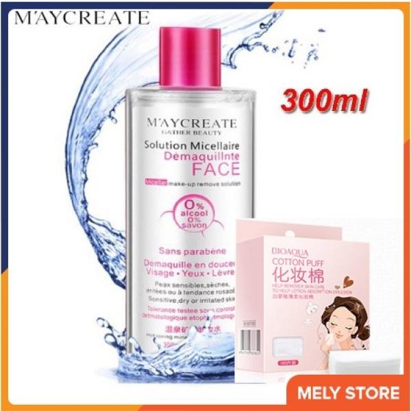 Combo nước tẩy trang và bông tẩy trang: Nước tẩy trang MayCreate 300ml + Hộp 100 miếng bông tẩy trang Bioaqua SPU136