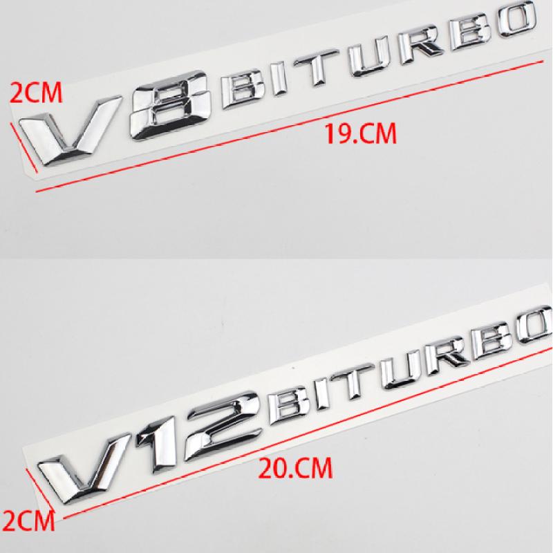 Decal tem chữ V8-Biturbo và V12-Biturbo dán hông xe Mercedes (dạng chữ vát)