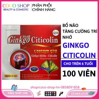 Hoạt huyết bổ não Ginkgo Citicolin Q10- Giảm đau đầu, hoa mắt, chóng mặt, rối loạn tiền đình, mất ngủ, mệt mỏi, suy giảm trí nhớ- Hộp 100 viên chuẩn GMP thumbnail