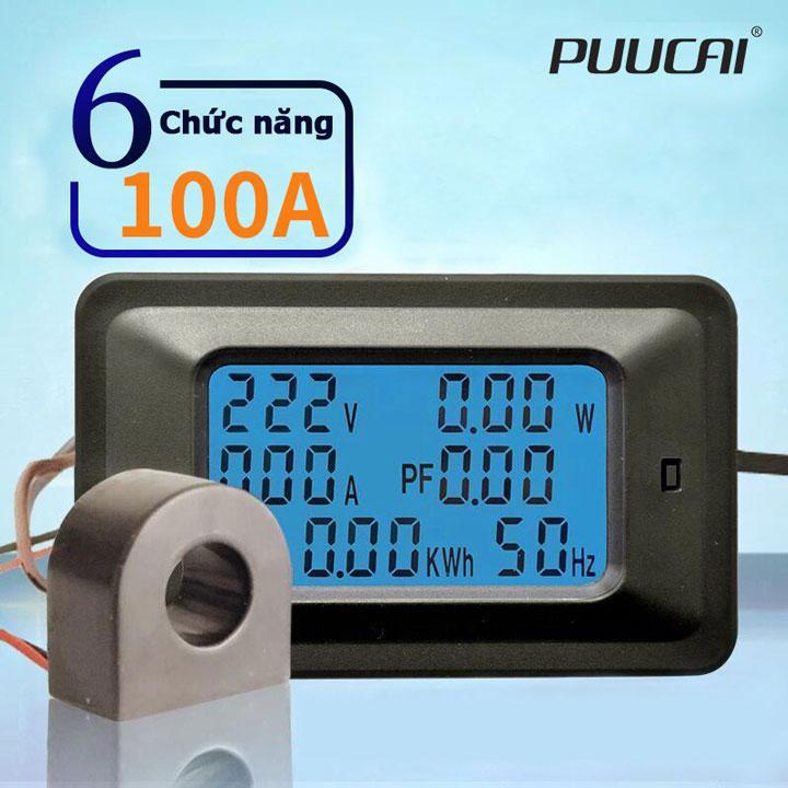 Máy đo điện áp cường độ dòng điện công suất công tơ điện tử PUUCAI ampe kế vôn kế 100A 6 trong 1