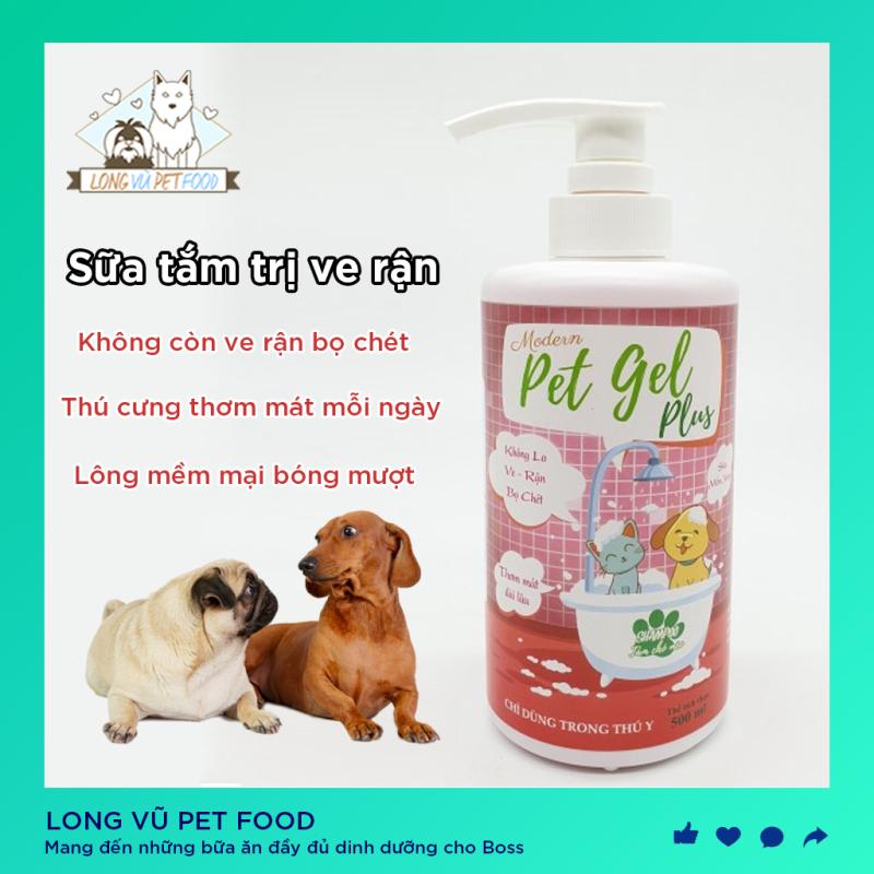 Sữa Tắm Chó Mèo Pet Gel Plus Diệt Ve, Rận, Bọ Chét 500ml