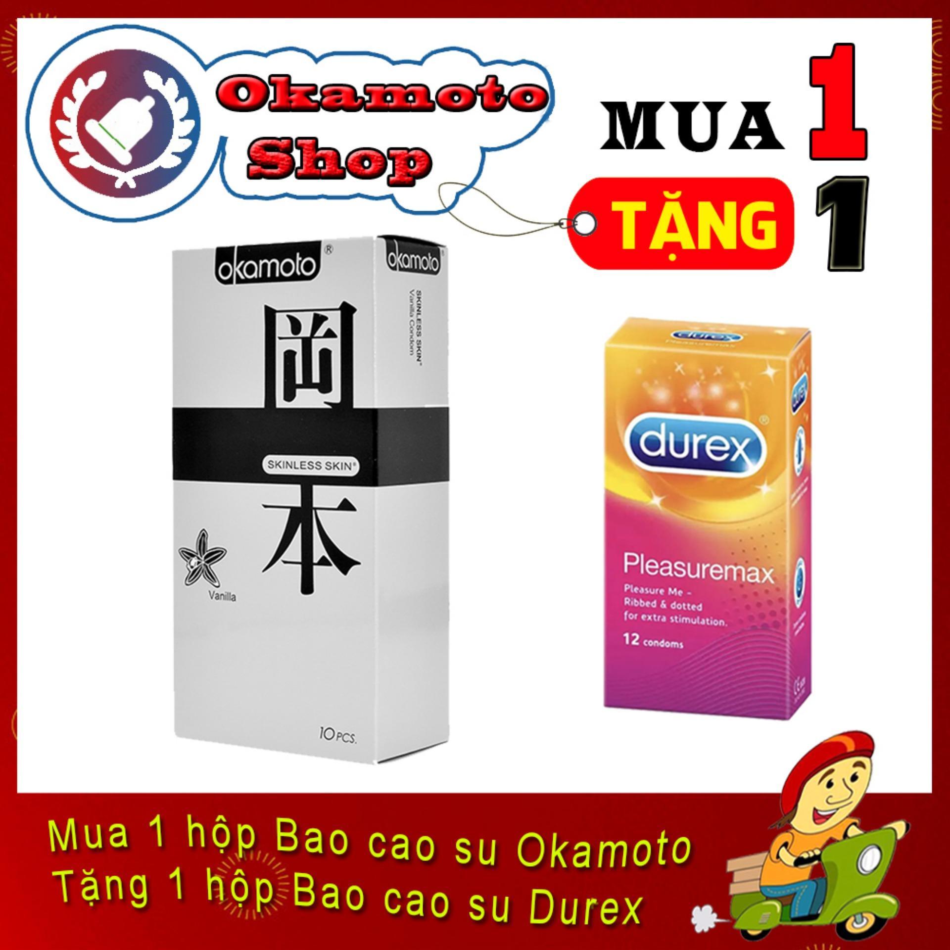 [Mua 1 tặng 1] Bao Cao Su Okamoto Vanilla Hương Vani 10s - Tặng Bao cao su Durex Pleasuremax gân gai 12s