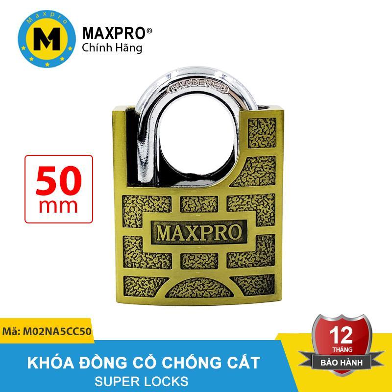 Ổ Khóa Chống Cắt Chìa Nhọn MAXPRO Vàng Ô Vuông Đồng Cổ 50mm - M02NA5CC50