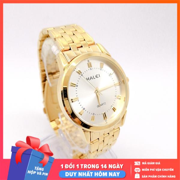Đồng hồ nam Halei dây vàng sang trọng, lịch lãm,  ,chống xước tuyệt đối, sang trọng lịch lãm - dong ho nam  Tặng hộp và pin dự phòng - Sam Shop bán chạy