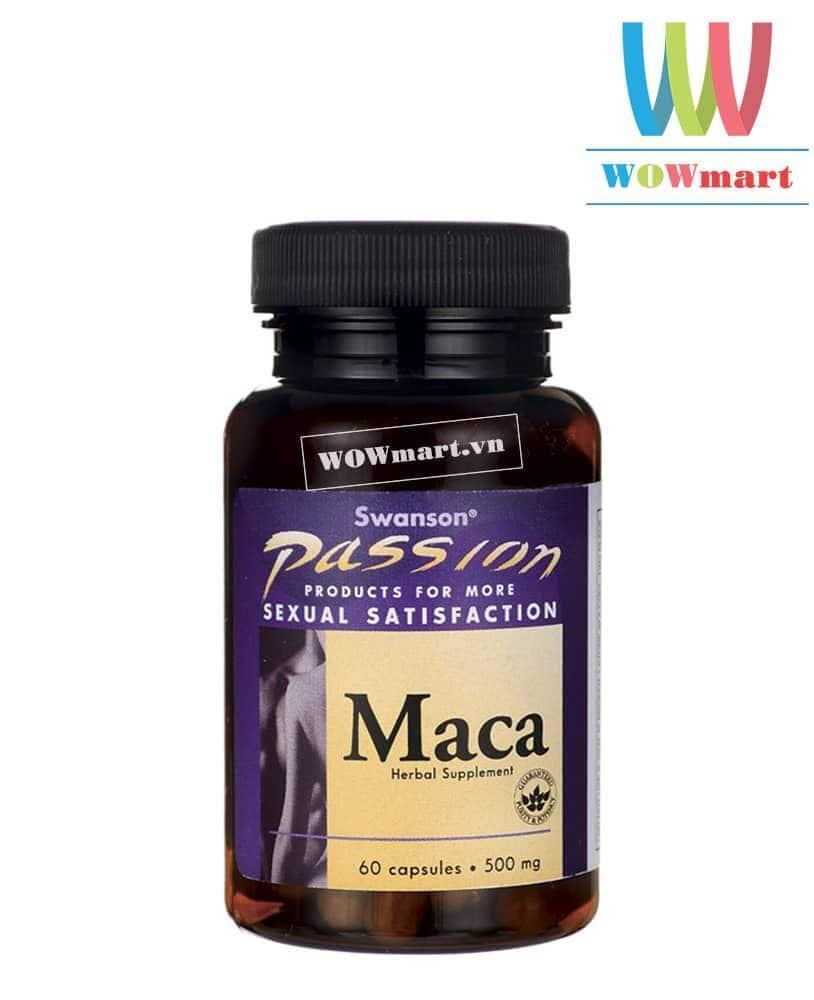 Dược lực tăng cường sinh lý cho cả nam và nữ Swanson Passion Maca 500mg 60 viên - MỸ