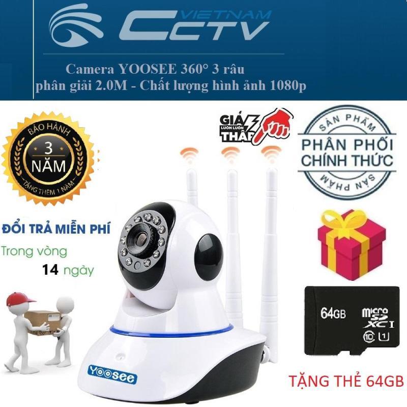 (Khuyến mãi SD 64 GB chuẩn C TY, BẢO HÀNH 3 năm)Camera IP Wifi Yoosee 3 Râu FULL HD 2.0MP Không Dây,Camera trong nhà,Camera hồng ngoại chống đột nhập,quan sát từ xa