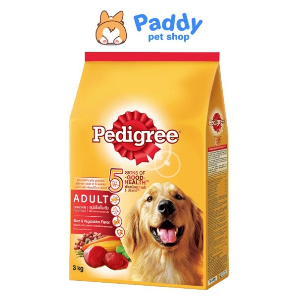 [3kg] Hạt Pedigree cho Chó lớn vị bò & rau củ