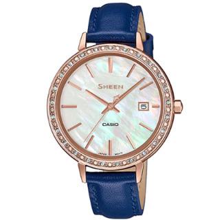 Đồng hồ nữ Casio SHEEN SHE-4052PGL-7A mặt trắng dây xanh lam tính. thumbnail