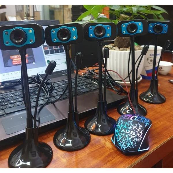 (Bảo hành 06 tháng) Webcam Chân Cao có mic dùng cho máy tính có tích hợp mic và đèn Led trợ sáng - Webcam máy tính để bàn siêu nét