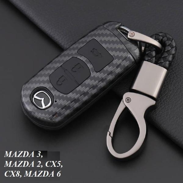 Bao da chìa khóa, bọc chìa khóa carbon 4D, ốp carbon chìa khóa xe Mazda 2, 3, 6, CX5, CX8