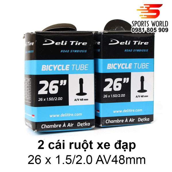 Mua 2 cái ruột xe đạp, săm xe đạp 26x1.5/2.0 van Mỹ dài 48mm AV48mm DELI-TIRE - hàng INDONESIA
