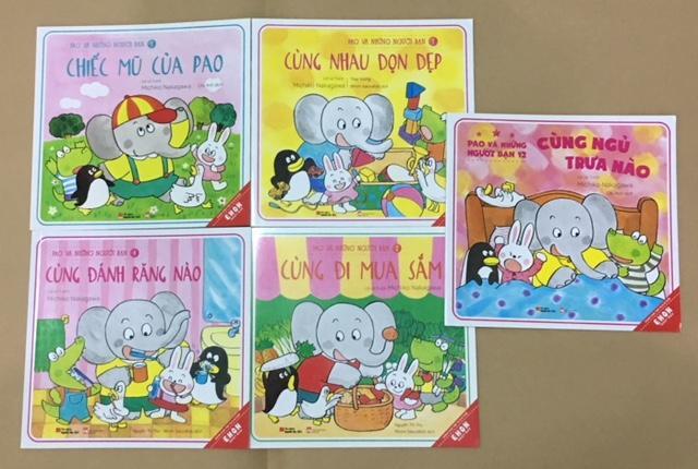 Combo 5 cuốn sách Ehon - Pao và những người bạn - Dành cho bé từ 0-6 tuổi (Chiếc mũ của Pao, Cùng đi mua sắm, Cùng nhau dọn dẹp, Cùng đánh răng nào, Cùng ngủ trưa nào)