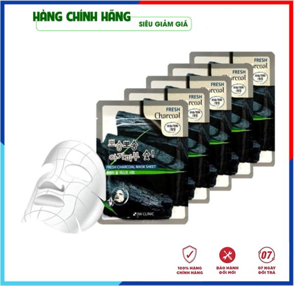[Hàng Nhập Khẩu Hàn Quốc] Bộ 10 túi mặt nạ giấy - Mặt nạ dưỡng da chiết xuất Than Hoạt Tính 3W Clinic Hàn Quốc 23mlx10