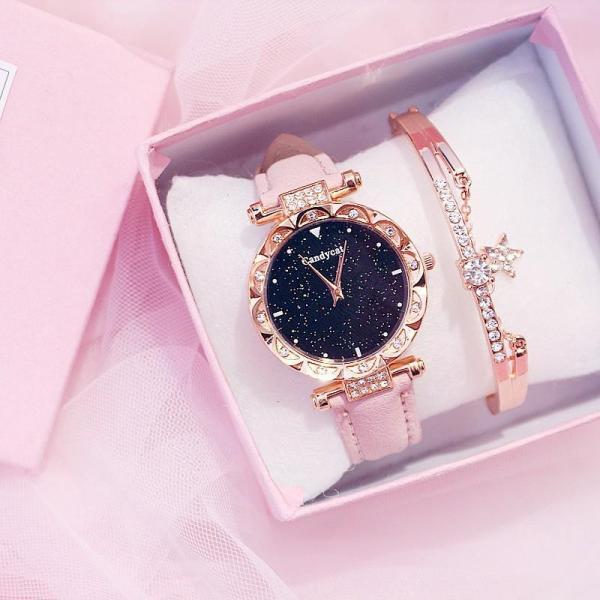 Nơi bán (Tặng kèm hộp và pin) Đồng hồ thời trang nữ Candycat đính cườm LL612126