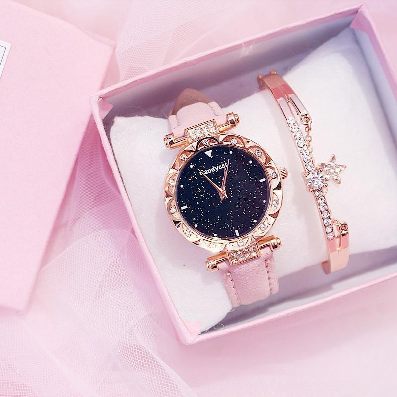 (Tặng kèm hộp và pin) Đồng hồ thời trang nữ Candycat đính cườm LL612126