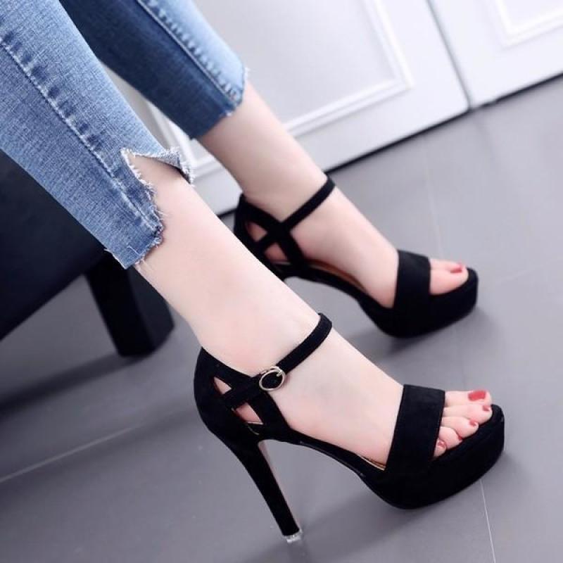 ( Bảo hành trong 12 tháng ) Giày cao gót nữ khoét eo hậu - Da Nhung mềm mịn - Gót cao 10cm - Linus LN1310