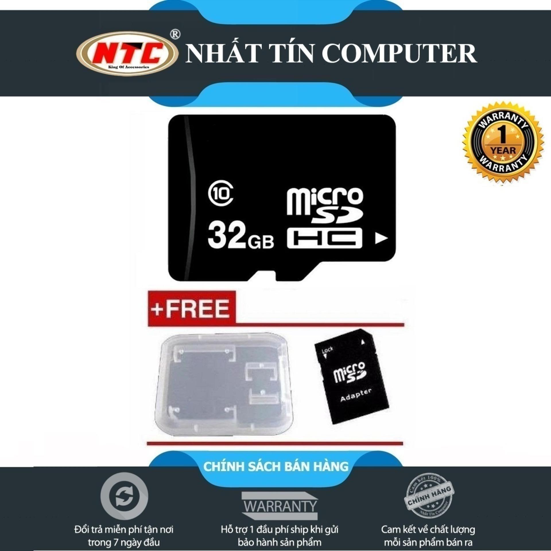 [HCM]Thẻ nhớ MicroSDHC NTComputer 32GB Class 10 (Đen) + Tặng adapter và hộp thẻ - Nhất Tín Computer