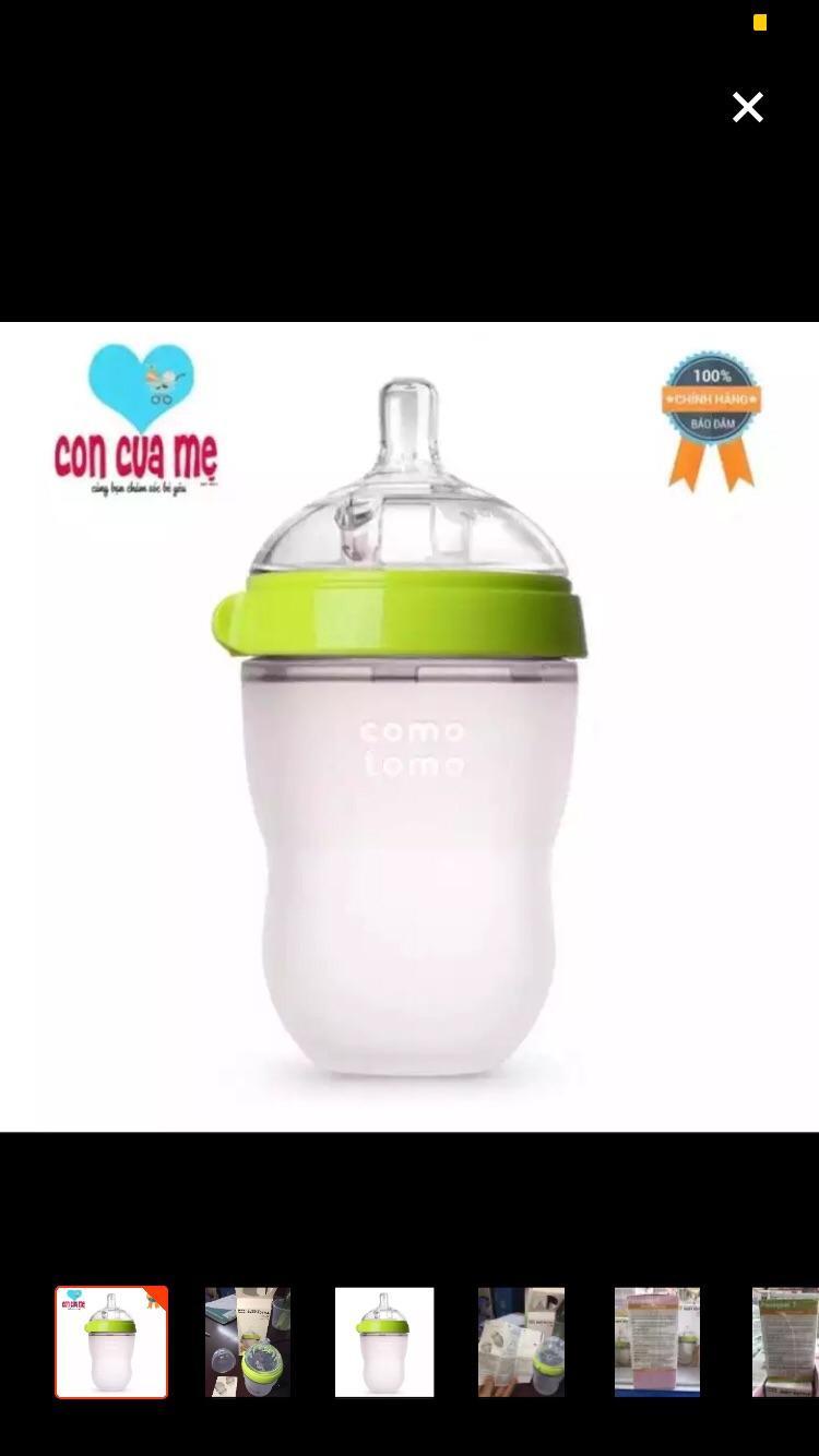 Bình sữa Comotomo siêu mềm cho bé 250ml(màu xanh) núm ty 2 tia