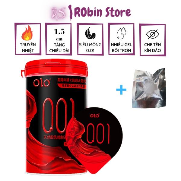Bao cao su OLO cao cấp Samurai đỏ đen gấp đôi độ trơn, siêu mỏng 0.01mm, tăng chiều dài cậu nhỏ 1.5cm, hộp 10 chiếc + 1 bi - Robin Store