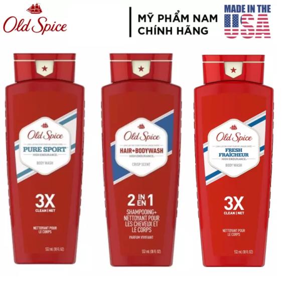 [USA] 1 chai Sữa tắm nam Gel Old Spice High Endurance 3X 532ml Pure Sport   Fresh Fraicheur tươi mát - Mỹ