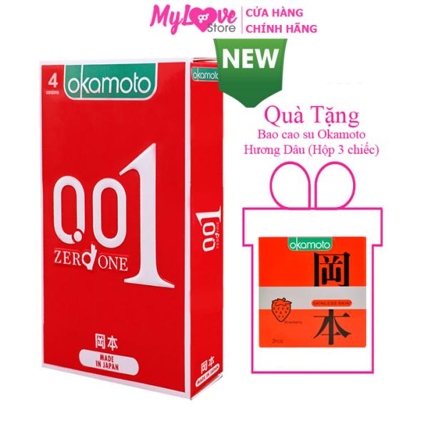 Bao Cao su Okamoto Siêu Mỏng 0,01 mm Hộp 4 chiếc Nhật Bản mylovestore   Condom Okamoto ultrathin 0,01mm box 4 PCs Japan mylovestore
