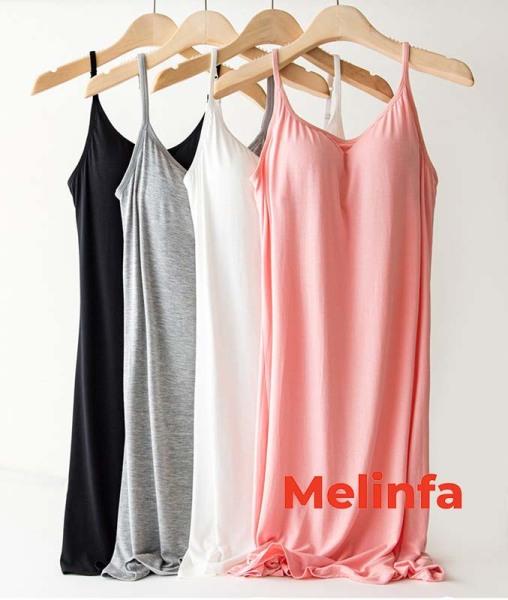 Nơi bán Váy hai dây có đệm ngực, váy ngủ hai dây basic trơn nhiều màu mã VAV0095