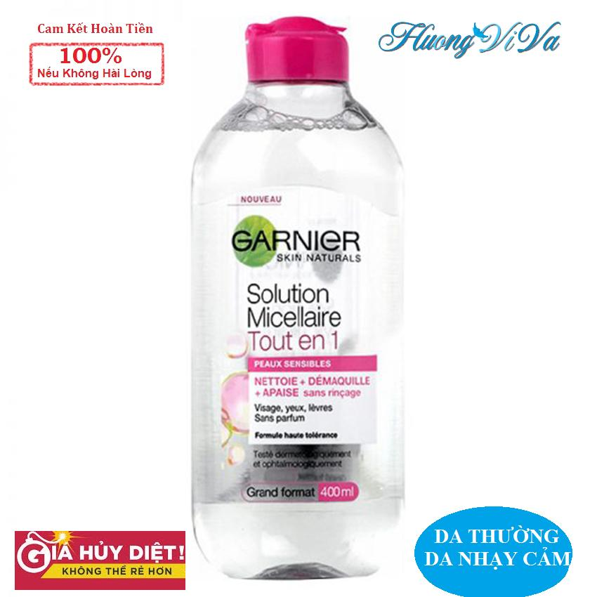 (BẢN PHÁP) Nước Tẩy Trang Garnier Skin Active Solution Micellaire 400ml màu hồng nhạt (cho mọi loại da, nhạy cảm), Nước Tẩy Trang Garnier, Nước Tẩy Trang Không Cồn, Nước Tẩy Trang Cho Da Mụn nhạy cảm - {Huongviva} tốt nhất