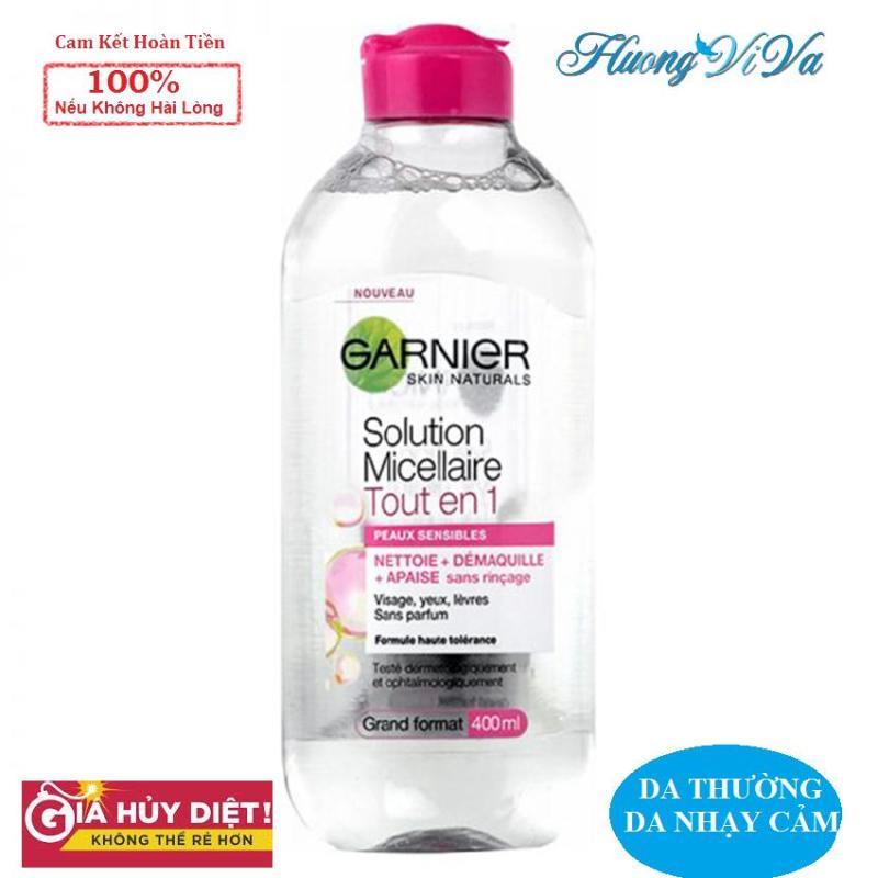 (BẢN PHÁP) Nước Tẩy Trang Garnier Skin Active Solution Micellaire 400ml màu hồng nhạt (cho mọi loại da, nhạy cảm), Nước Tẩy Trang Garnier, Nước Tẩy Trang Không Cồn, Nước Tẩy Trang Cho Da Mụn nhạy cảm - {Huongviva} cao cấp