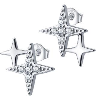 Khuyên tai cho nữ kiểu dáng thanh mảnh ngôi sao đôi 4 cánh - Bảo Ngọc Jewelry B2617 thumbnail