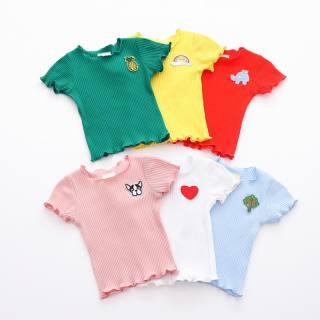 KTtrade 9-48 Tháng Cô Gái T-Shirt Mùa Hè Bé Gái Cotton In Cả Tấm Liền Áo Phông Áo Áo Tay Ngắn Trẻ Em Đơn Giản Áo Phông