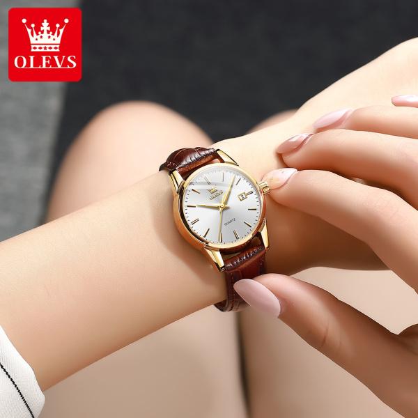 Nơi bán Đồng hồ nữ OLEVS chính hãng sang trọng dây da mạ vàng có lịch đôi chống thấm nước