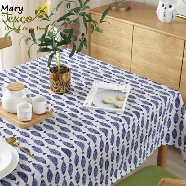 Khăn trải bàn Mary Texco trang trí bàn ăn đậm chất vintage, mặc định viền ren - họa tiết Cá - KB-A01