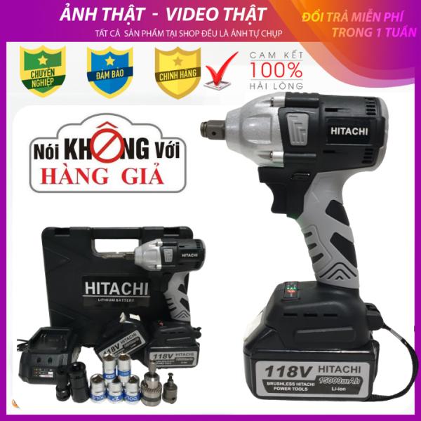 Máy siết bulong vặn ốc Hitachi 118V - 2 Pin - 100% ruột đồng - tặng bộ chuyển đổi khoan cao cấp và 5 khẩu trắng