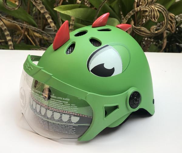 Giá bán Nón bảo hiểm trẻ em từ 3-7 tuổi có hình dáng KHỦNG LONG, CÓ KÍNH bảo vệ đầu trẻ khi đi xe máy nhẹ, cứng cáp, TP.HCM