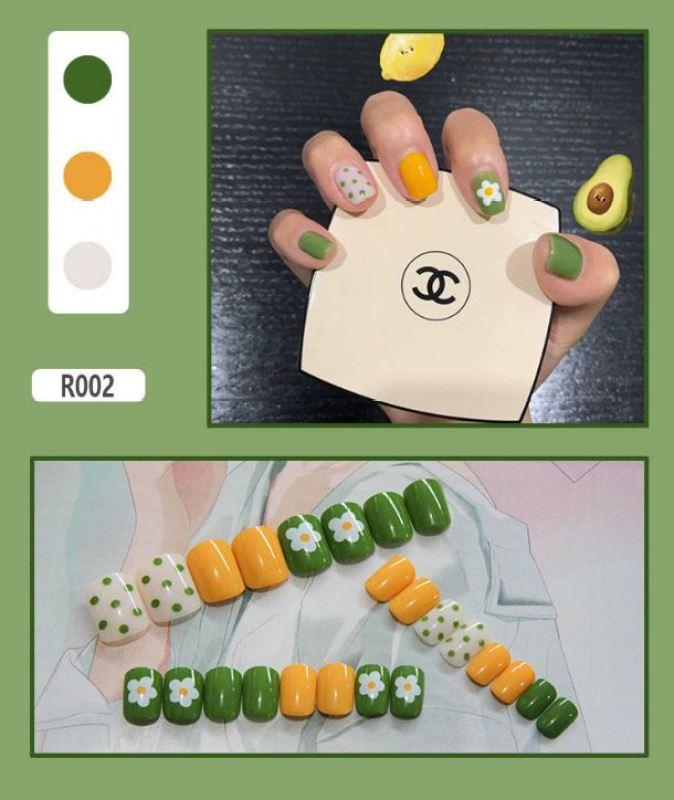 [SIÊU RẺ]Bộ 24 móng tay giả cực xinh (kèm keo) - Rực rỡ mùa hè vàng + xanh lá giá rẻ
