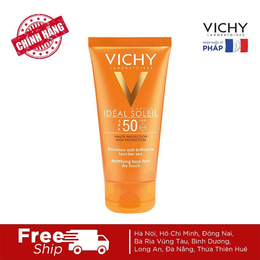 Kem Chống Nắng Không Gây Nhờn Rít Không Màu SPF50 Vichy Capital Ideal Soleil SPF50 Face Dry Touch (50ml) Đang Giảm Giá
