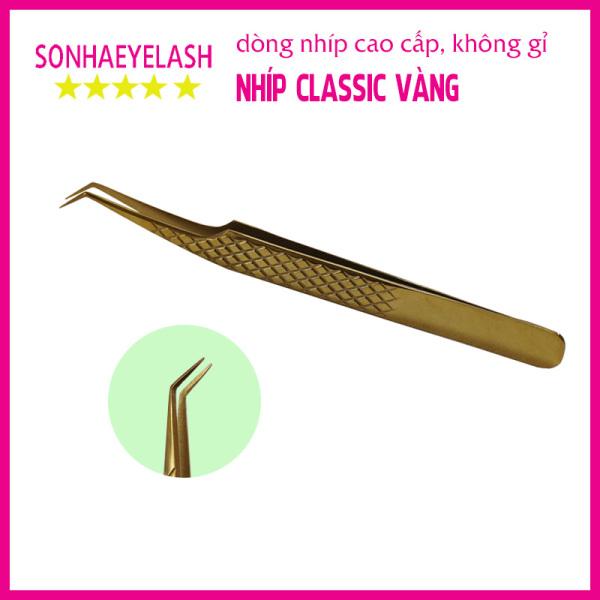 Nhíp tách, nối mi classic vàng pakistan cao cấp dành cho thợ nối mi chuyên nghiệp, làm từ thép không gỉ (mũi ngắn) giá rẻ